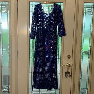 Blue sequin 70s style Evening Dress